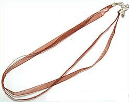 Kette aus Organza ca. 47cm lang ca. 7mm breit rotbraun