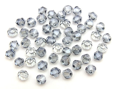 Bicone Glasschliffperlen ca. 4mm silbergrau