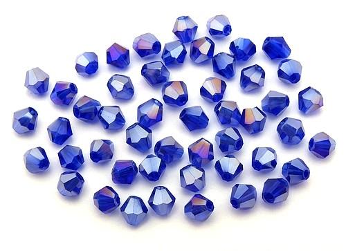 Bicone Glasschliffperlen ca. 4mm tintenblau AB 50Stk