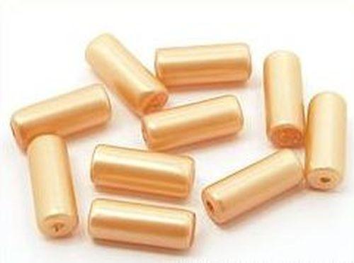 Glaswalzen ca. 6 x 15mm pfirsich 10Stk