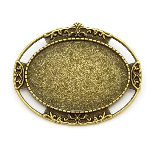 verzierter Broschenrohling oval ca. 45 x 37mm antikfarben 1Stk