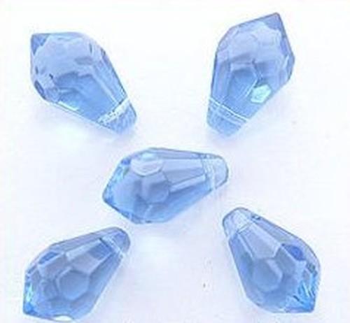 facettierte Glastropfen ca. 15 x 9mm hellblau 5Stk