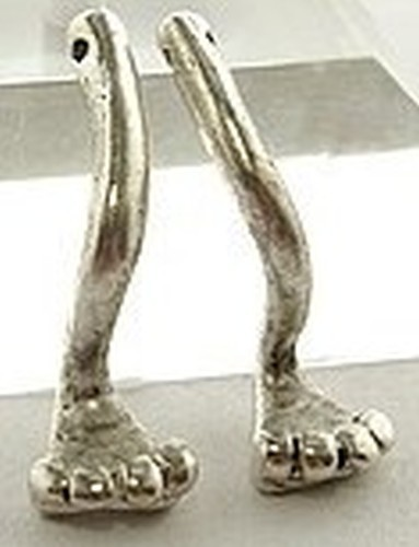 Froschfüße lang ca. 24mm silberfarben Paar 1Stk