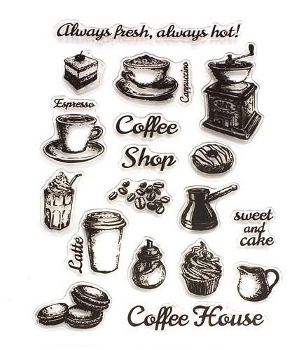 Stempel-Set COFFEE SHOP ca. 10x15mm 1Stk