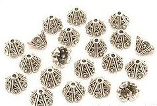Perlkappen Blütenkelch ca. 10 x 8mm altsilberfarben 20Stk