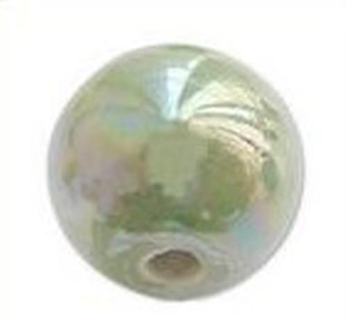 Keramikperle Karibu AB ca. 18mm moos metallic 1Stk