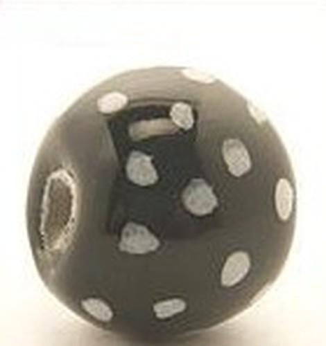 Keramikperle Katika ca. 18mm schwarz 1Stk
