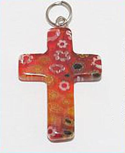 Millefiori Kreuz Anhänger ca. 25 x 18mm rot