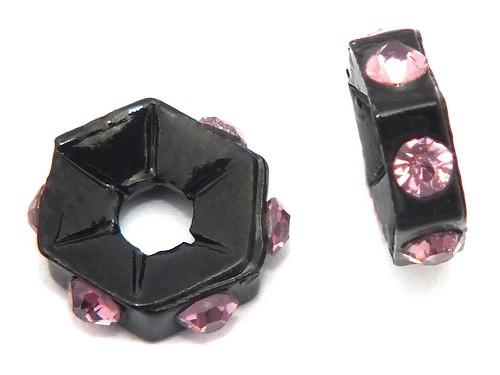 Strassrondelle black enamel lila ca. 7,6 mm