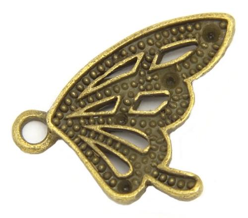 Metallanhänger Schmetterlingflügel ca. 20 x 17mm antikfarben 1Stk