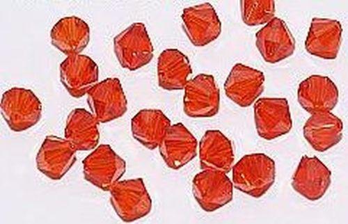 Bicone Glasschliffperlen ca. 4mm #19 hellrot 50Stk