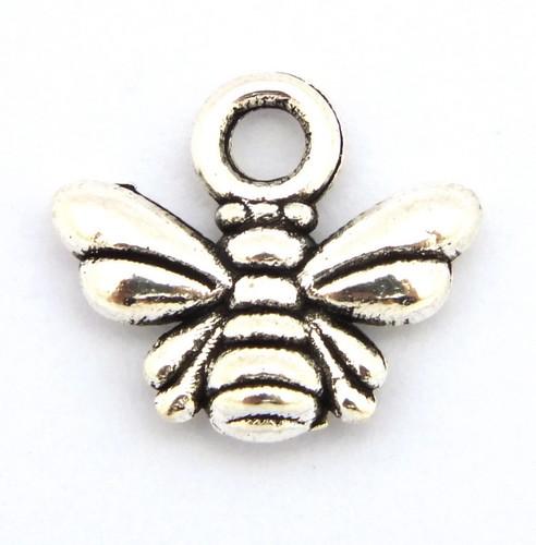 Metallanhänger Biene ca. 11 x 10mm silberfarben