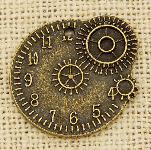 Steampunk Timegear ca. 20 x 23mm antikfarben