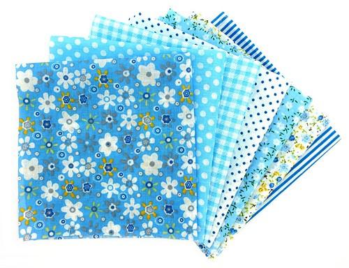 Stoffseiten 7-teilig 25 x 25 cm blau