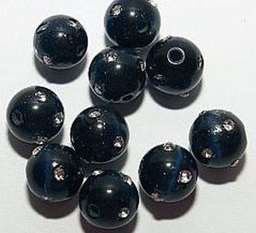 Cateyekugeln m. Strass ca. 8mm (Nr.dx23) mitternacht