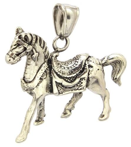 Metallanhänger Pferd Fury ca. 33 x 39mm altsilberfarben