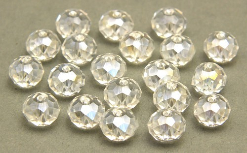 Glasschliff-Rondelle ca. 6 x 8mm crystal AB 20Stk