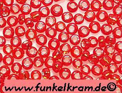 Rocailles ca. 2mm silberfarbener Einzug #25 rot 50g
