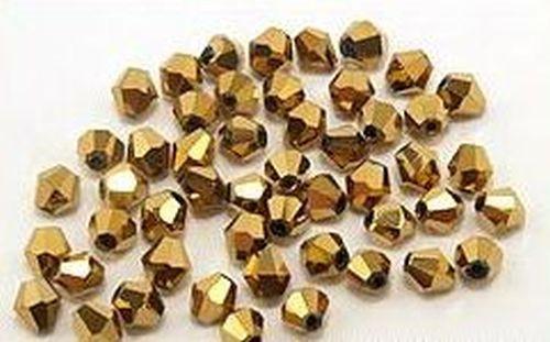 Bicone Glasschliffperlen ca. 4mm #38 goldfarben 50Stk
