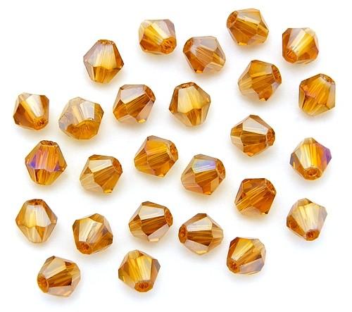 Bicone Glasschliffperlen ca. 6mm bernstein AB 25Stk