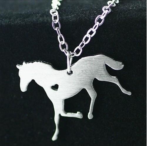 Kette mit Pferdanhänger Silver ca. 44cm silberfarben