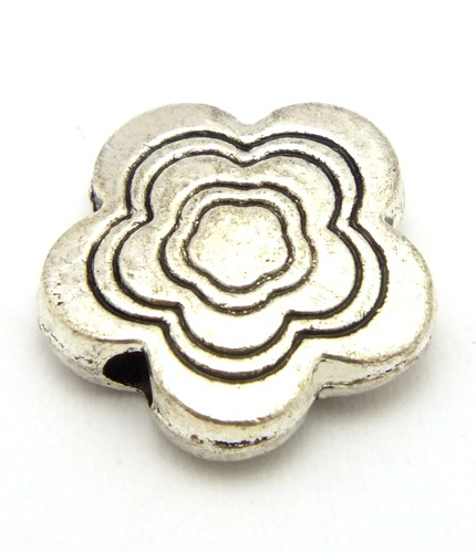 Metallperle Blüte Malve ca. 11 x 3mm altsilberfarben