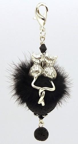 Funkel-Anhänger verliebte Katzen Lava ca. 8 cm Puschel schwarz