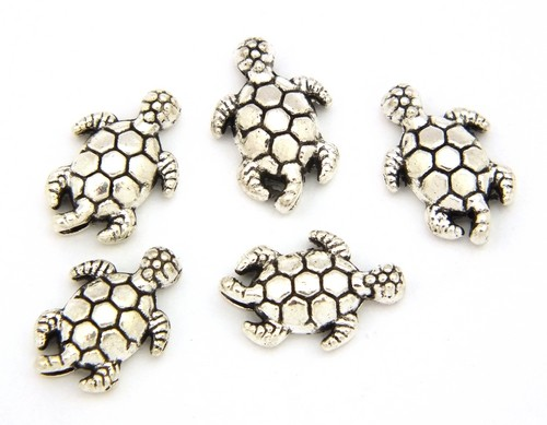Metallperlen Schildkröte Momo ca. 13 x 9 x 4mm altsilberfarben 5Stk