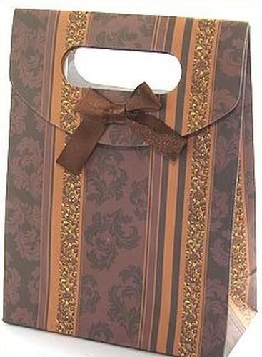 Geschenktüte mit Klettverschluß, ca. 165 x 125 x 60mm braun