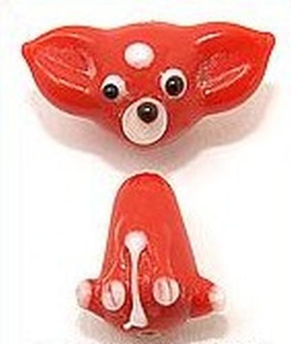 Lampworkperle Hund Stups zweiteilig ca. 30 x 26mm rot
