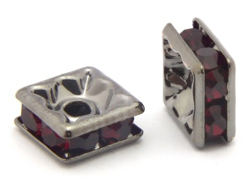 Strassquadrate ca. 6mm schwarz-rot