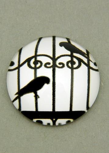 schwarz-weiß Cabochon Käfig C ca. 20mm 1Stk