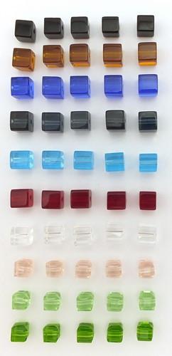 Glaswürfel-Mix kunterbunt ca. 6mm 50Stk