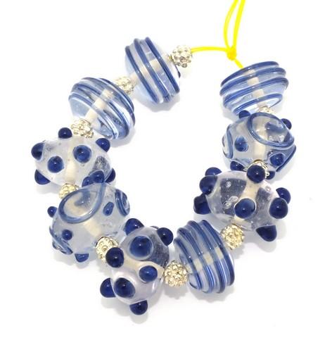 Lampwork Kombination Candy navy ca. 18mm klar-dunkelblau