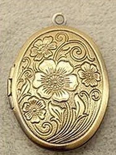 Vintage Medaillon Fleur ca. 24 x 30 x 7mm antikfarben