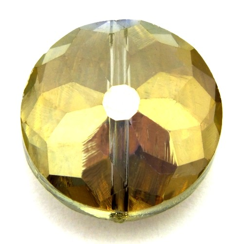 Glasschliff-Rondell K ca. 18 x 10mm golden shadow