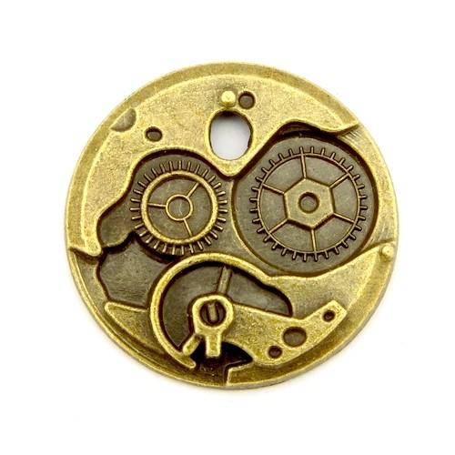 Steampunk Uhrwerk KLEIN ca. 24 x 2,5mm antikfarben 1Stk