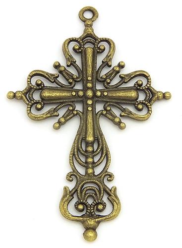Metallanhänger Kreuz Templer ca. 43 x 42mm antikfarben 1Stk