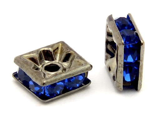 Strassquadrate ca. 6mm schwarz-blau 10Stk
