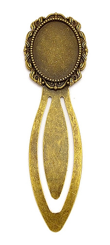 Lesezeichen oval für Cabochons ca. 89 x 30mm antikfarben