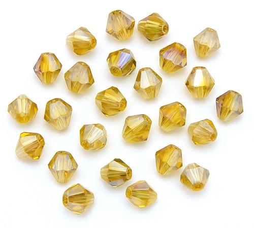 Bicone Glasschliffperlen ca. 6mm messinggelb AB