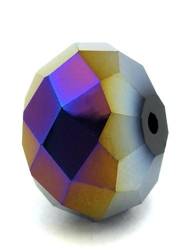 Glasschliff-Rondell ca. 13 x 18mm dunkelbunt GROSS