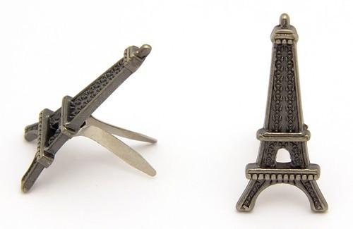 Mini-Brads Eiffelturm ca. 11 x 24 mm eisenfarben 6 Stk