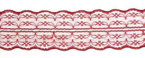 Tüllspitze Nostalgia ca. 5 cm breit bordeauxrot 0,5m