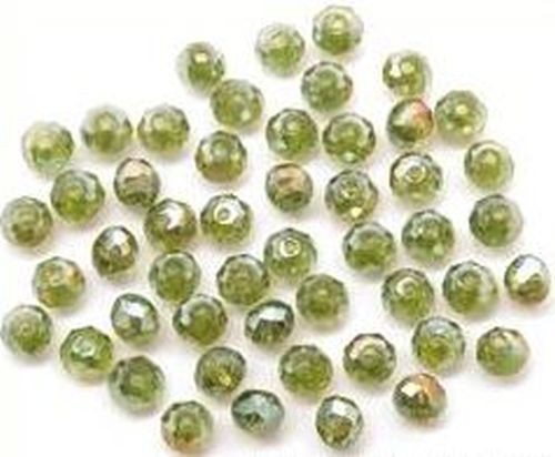 Glasschliff-Rondelle ca. 3 x 4mm olive AB