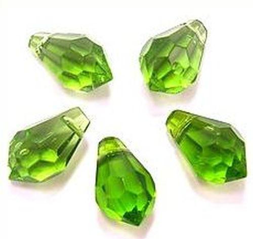 Facettierte Glastropfen grün #A ca. 15x9mm 5Stk