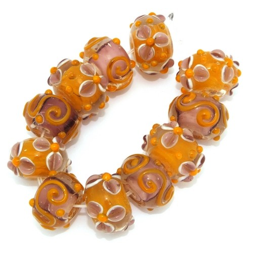 Lampwork Kombination Bollywood ca. 17mm orange 11Stk