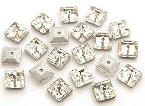 Glasquadrate ca. 6 x 6mm crystal facettiert 20Stk