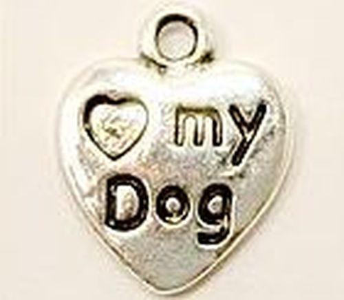 """Metallanhänger Herz """"..my Dog"""" ca. 12x15mm silberfarben"""