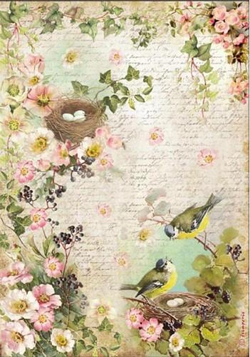 Stamperia Rice Papier Peach Flowers & Nest A4 1 Bogen
